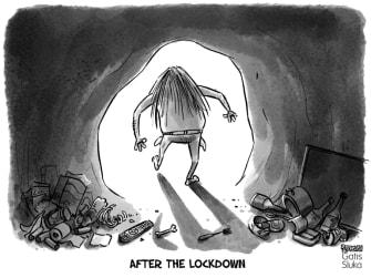 Editorial Cartoon World after coronavirus lockdown caveman