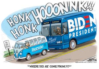 Political Cartoon U.S. Campaign bus Biden catches up Sanders 2020 election