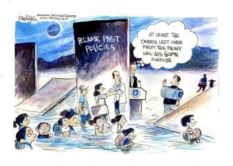 Political Cartoon U.S. biden trump border wall migrant