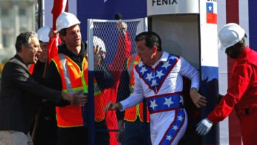 """Stephen Colbert emerges from a """"fear bunker"""" chanting """"Chi-le! Chi-le!"""""""