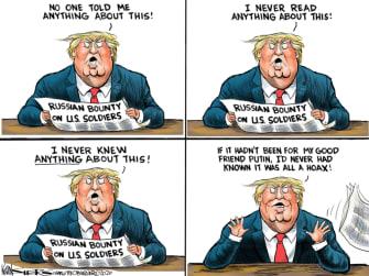 Political Cartoon U.S. Trump Russia bounty