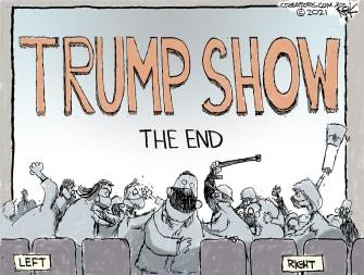 Political Cartoon U.S. Biden Trump divisions