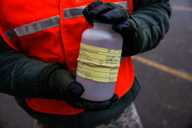 Bottle of contaminated water from Flint, Michigan.