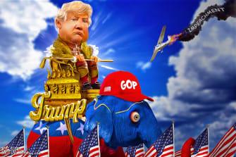 Political Cartoon U.S. Trump parade GOP impeachment victory