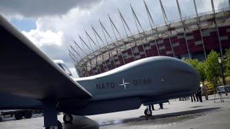 A NATO drone outside the summit in Warsaw