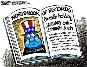 Political Cartoon U.S. Biden inauguration security threat