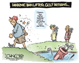 Editorial Cartoon U.S. coronavirus social distancing golf