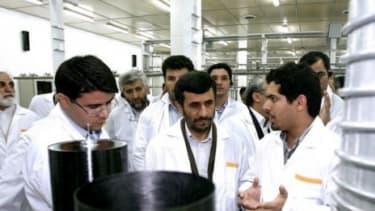 President Mahmoud Ahmadinejad visits a uranium enrichment facility in 2008