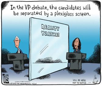 Political Cartoon U.S. Pence Harris debate