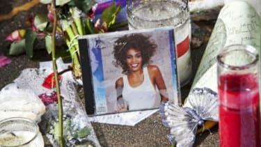 A street memorial for Whitney Houston
