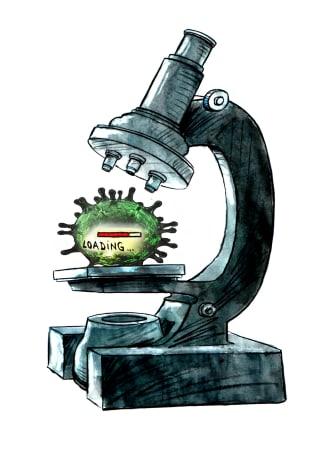 Editorial Cartoon World Coronavirus COVID-19 microscope loading evolving