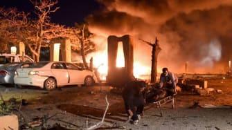 The blast site at the Serena Hotel in Quetta.