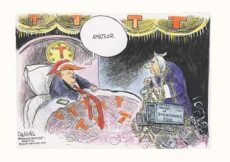 Political Cartoon U.S. Trump Scrooge Ghost Of Impeachment Past