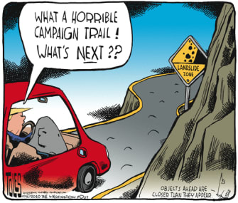 Political Cartoon U.S. Trump campaign landslide