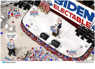 Political Cartoon U.S. Joe Biden Iowa caucus