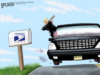 Political Cartoon U.S. President Trump Destroys USPS Postal Service