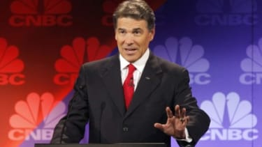 During Wednesday night's critical GOP debate, Texas Gov. Rick Perry tried for about 45 painful seconds to remember the names of three federal departments he wants to scrap, but came up with o