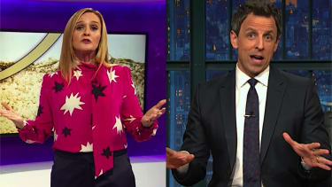 Samantha Bee and Seth Meyers discuss Trump and golden showers