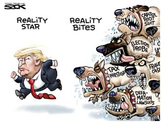 Political Cartoon U.S. trump legal peril
