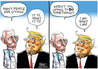 Political Cartoon U.S. Trump Fauci Coronavirus People Dying