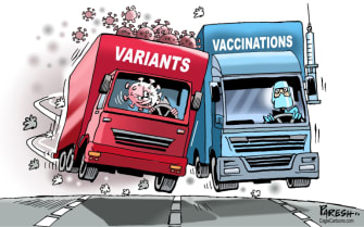 Editorial Cartoon World covid variants vaccines