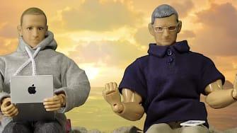 Mark Zuckerberg and Tim Cook dolls
