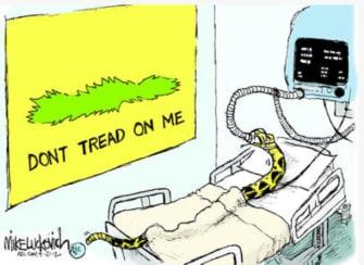 Political Cartoon U.S. dont tread on me Gadsden snake anti lockdown protest