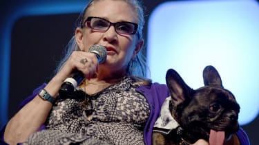 Carrie Fisher and her dog, Gary.