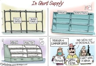 Editorial Cartoon U.S. coronavirus short supply anti lockdown protesters