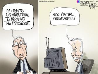 Political Cartoon U.S. biden impeachment trump