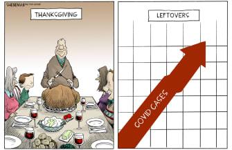 Editorial Cartoon U.S. COVID Thanksgiving