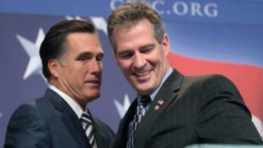 Mitt Romney and Sen. Scott Brown (R-Mass.) are pictured in 2010