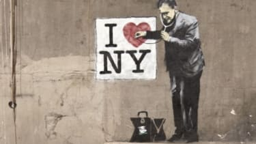 Anonymous street artist Banksy has created stenciled graffiti all over the world, from New York (pictured) to the West Bank city of Bethlehem.