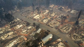 An aerial view of the destroyed town of Paradise, California.