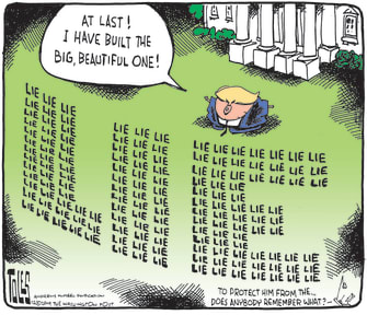 Political Cartoon U.S. Trump Lies Empire