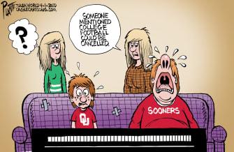 Editorial Cartoon U.S. Oklahoma University Sooners ESPN college football crying canceled