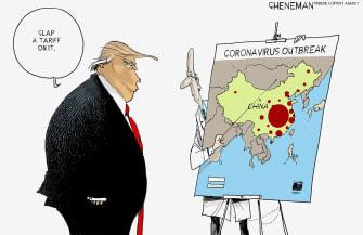 Political Cartoon U.S. Trump China Coronavirus tariffs virus problem solving