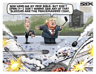 Political Cartoon U.S. Trump Kushner Bible photo op