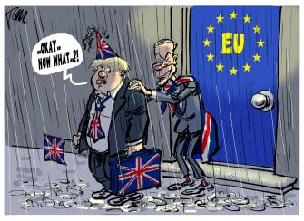 Political Cartoon World Boris Johnson Nigel Farage Brexit UK leaving