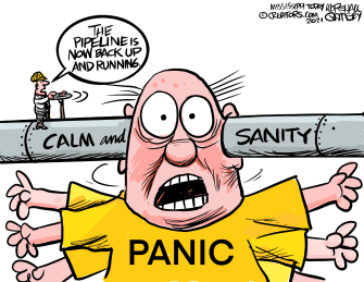 Editorial Cartoon U.S. colonial pipeline hack