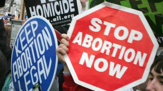 Pro-life and pro-choice demonstrators clash