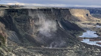 Rocks fall in Snake River Canyon during Tuesday's earthquake in Idaho.