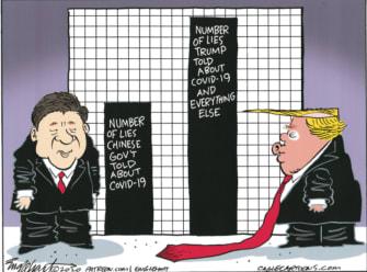 Political Cartoon U.S. lies China told Xi Jinping Trump lies