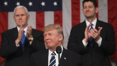 Trump pauses for applause during his address to Congress.