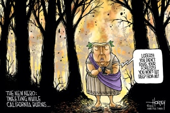 Political Cartoon U.S. Trump California wildfires nero