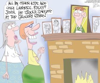 Editorial Cartoon U.S. coronavirus hero grocery store clerk stocks shelves