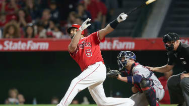 Albert Pujols #5 of the Los Angeles Angels of Anaheim hits career home run number 600