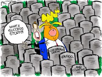 Political Cartoon U.S. Trump Jared Kushner coronavirus deaths success