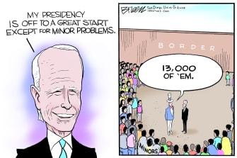 Political Cartoon U.S. Biden border crisis migrant children