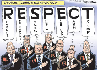 Political cartoon US NFL football national anthem protest Trump owners